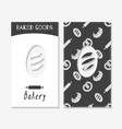 hand drawn silhouettes bakery business cards vector image vector image