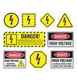 high voltage sign set danger electricity icons vector image vector image