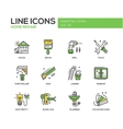 Home repair line design icons set vector image