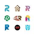 Letter R logo set Color icon templates design vector image vector image