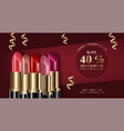 lipstick sets mock up realistic 3d advertising vector image vector image