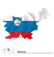 Map of Slovenia with flag vector image vector image