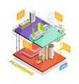 plumbing water heating system isometric view vector image vector image