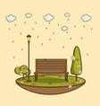 rain park natural landscape vector image vector image