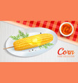 realistic corn on plate vector image
