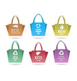 recycling shopping ecobags set vector image