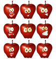Red apple with facial expression vector image vector image
