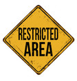 restricted area vintage rusty metal sign vector image