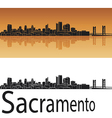 Sacramento skyline in orange background vector image vector image