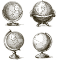 Set of four hand drawn globes vector image