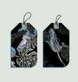 set of jellyfish and whale gift tags vector image
