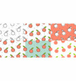 set of peaches seamless pattern vector image
