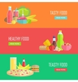 Set of Tasty and Healthy Food Web Banners vector image vector image