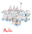 taditional eyed boats luzzu in marsaxlokk malta vector image