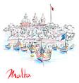 traditional eyed boats luzzu in marsaxlokk malta vector image