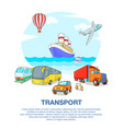 types of transport concept cartoon style vector image vector image