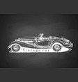 vintage convertible on blackboard vector image vector image