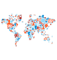 World map shape made with social media icons vector image