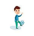 smiling little boy character kicking soccer ball vector image