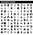 100 shop icons set simple style vector image vector image