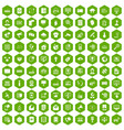 100 telecommunication icons hexagon green vector image vector image