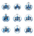 ancient fortresses emblems set heraldic coat of vector image vector image