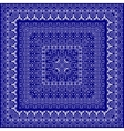 Blue bandanna with white ornament vector image vector image