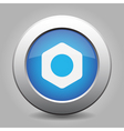 Blue metal button with nut vector image