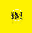 bm letter logo with vintage grundge drawing vector image vector image
