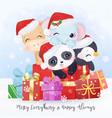 christmas greeting card with wild animal vector image