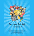 cinema icons poster for movie night or vector image vector image
