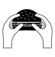 contour hamburger in the hands icon image vector image