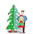 couple with green gift box on white background vector image vector image
