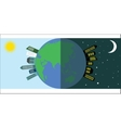 Day and night on the planet vector image vector image