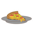 dish with delicious italian pizza vector image