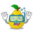 diving bunch cartoon of juicy yellow quinces vector image