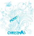doodle style christmas background vector image vector image