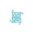 e letter connect dot network logo icon design vector image