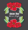 flowers and branches design to anzac day vector image