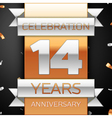 Fourteen years anniversary celebration golden and vector image