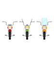 front view of small classic retro motorcycle set vector image