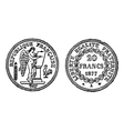 Gold francs coins engraving vector image vector image