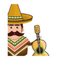 half body man mexican with hat and acoustic guitar vector image vector image