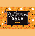 halloween sale with witch pumpkin broom ghost vector image vector image