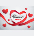 happy valentines day red ribbon heart shape banner vector image