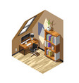 home workplace isometric composition vector image vector image