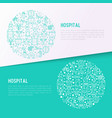 hospital concept in circle with thin line icons vector image vector image