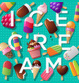 ice cream poster letters and ice-cream vector image vector image