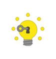 icon concept key unlocking light bulb idea vector image vector image