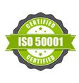 iso 50001 standard certificate badge vector image vector image